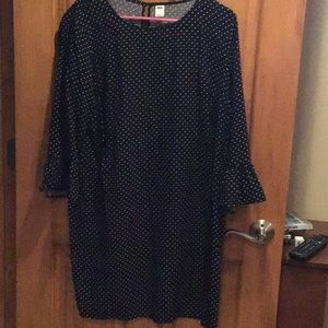 Black with white polka dots quartered sleeves